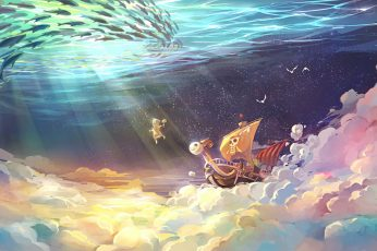 One Piece Going Mary digital wallpaper illustration, anime, water, sea