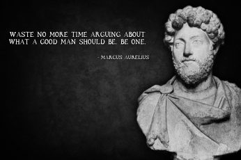 Marcus Aurelius head bust with text overlay, quote, western script