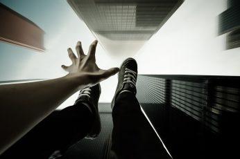The sky, flight, style, hand, skyscrapers, drop, art, guy, sneakers