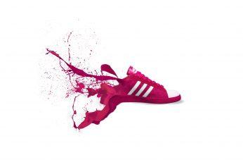 Adidas, red, shoes, sneakers, logo, art, splash, studio shot