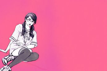 Digital art, women, drawn, Ilya Kuvshinov, glasses, pigtails