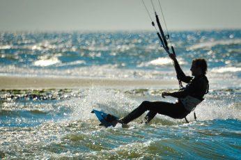 Kite Surfing Renesse, Zeeland, black wakeboard, Sports, Beach