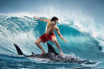 Surfing, men's red shorts, sports, abstract, fantasy, courage