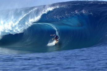 Men's blue wet suit, surfing, surfers, sea, waves, nature, water