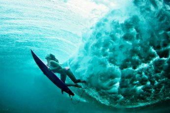 Blue surfboard, women, water, underwater, surfing, sports, sea