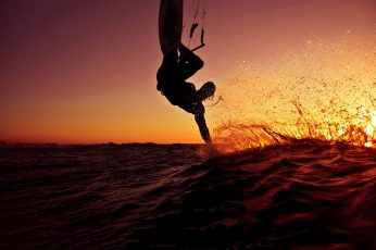 Kitesurfing, ocean, sport, sunset, waves