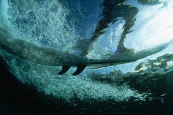 White surf board, surfing, waves, sport , underwater, sea, undersea