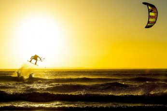 Kitesurfing, sports, windy, waves, silhouette, water, sea, sky