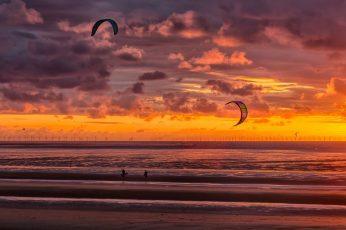 New Brighton, kite surfers, kite surfing, beach, sunset