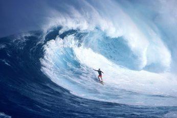 Surfer surfing huge ocean waves, sea, sport, blue, water, aquatic sport