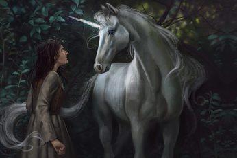 Meeting wallpaper, fantasy, art, unicorn, Illustrator, Alex Shiga, How dare you