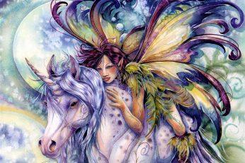 Fantasy wallpaper, Fairy, Colorful, Unicorn, Watercolor, Wings