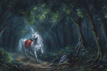 Forest wallpaper, dreamland, unicorn, woodland, tree, wildlife, fairytale art