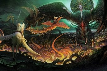 Angel, artistic, child, dragon, fantasy, phoenix, unicorn