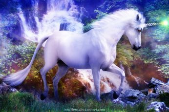 Fantasy Animals, Unicorn, Magic, Waterfall