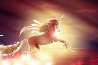 Cloud, fantasy, girl, horse, sky, sunset, Unicorn