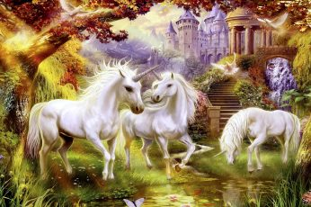 Fantasy art, unicorns, mythical creature, mane, painting, legendary creature