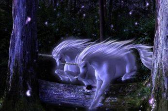 Two white unicorns wallpaper, Fantasy Animals, tree, plant, no people
