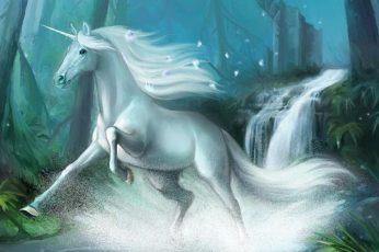 Unicorn, fantasy, luminos, green, running, white, blue