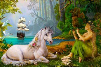 Fantasy Animals, Unicorn, Bird, Boat, Flute, Forest, Sailboat