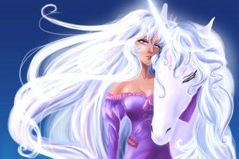 Animals, blonde, fantasy, girl, girls, hair, magical, unicorns
