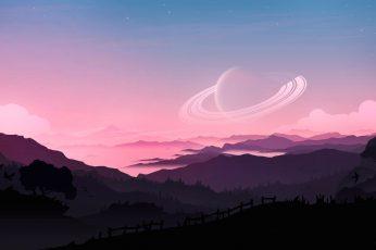 Digital ar wallpapert, artwork, illustration, science fiction, planet