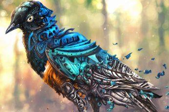 Blue and white bird wallpaper illustration, artwork, fantasy art, digital art