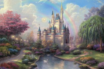 Disneyland Castle Drawing Rainbow Disney HD wallpaper, digital/artwork
