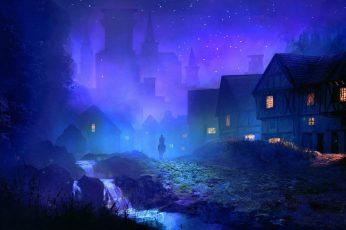 Village during night wallpaper, man riding horse silhouette artwork