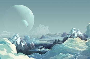 Snow capped mountains wallpaper, artwork, illustration, sky, digital art