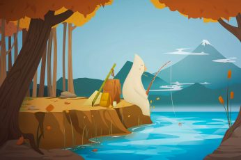 Person fishing wallpaper illustration, polar panda fishing on river beside tree painting