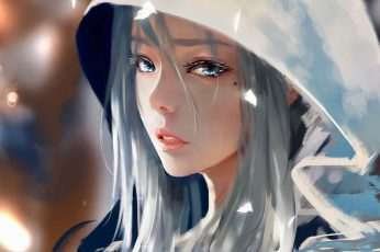 WLOP wallpaper, digital art, drawing, women, face, Ghost + Blade, grey hair