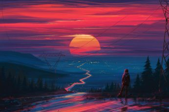 Sunset wallpaper, figure, art, Aenami, by Aenami, Alena Aenam The, by Alena Aenami