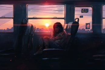 Digital art wallpaper, women, sitting, sunset, artwork, fantasy art, Aenami