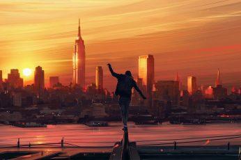 Man standing on rails wallpaper, man wearing black jacket standing on black steel bar during sunset