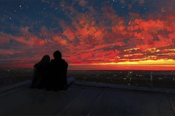 Silhouette of man and woman wallpaper, fantasy art, couple, Sun, sunset