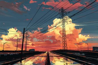 Power line tower vector art wallpaper, artwork, digital art, Aenami, clouds