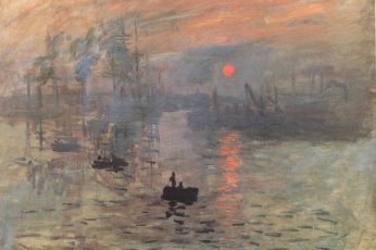 Paining wallpaper of boat during golden hour, artwork, painting, Claude Monet