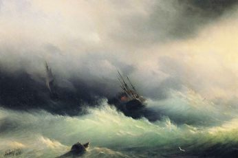 Large wave with boat painting wallpaper, Ivan Aivazovsky, sea, sailing ship