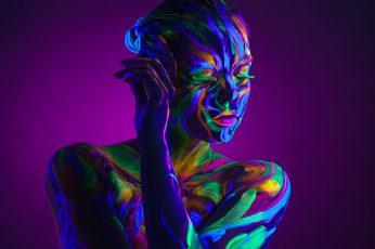 Multicolored body paint wallpaper, women, neon, purple background, colorful