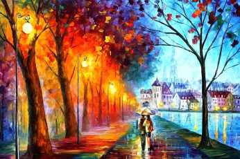 Abstract wallpaper painting of man and woman, street light, couple, fall