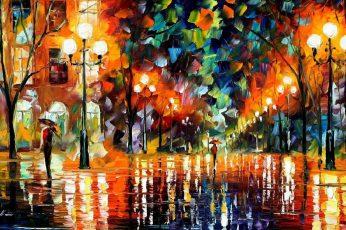 Multicolored streetlight wallpaper painting, colorful, umbrella, Leonid Afremov
