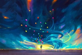 Blue and red abstract painting wallpaper, digital art, balloon, children