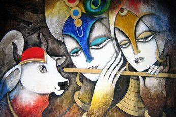 Radha With Krishna Glass Painting wallpaper, Krishna and Radha painting