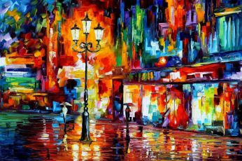 Assorted-colored abstract painting wallpaper, colorful, street light, Leonid Afremov
