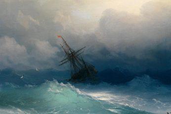 Body of water painting wallpaper, Ivan Aivazovsky, sea, ship, seagulls