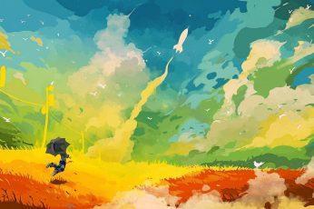 Multicolored abstract painting wallpaper, artwork, umbrella, fantasy art