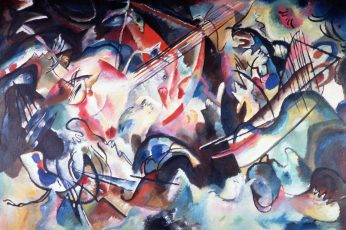 Multicolored abstract painting wallpaper, picture, Wassily Kandinsky, Composition VI