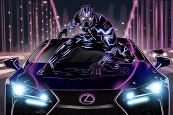 Artwork wallpaper, Neon art, Lexus LC 500, Black Panther