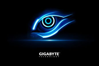 Gigabyte Blue Eye wallpaper, Gigabyte logo, Computers, Hardware, illuminated